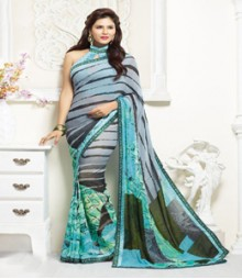 Enthralling Grey & blue coloured Faux Georgette Ethnic Casual Wear Saree