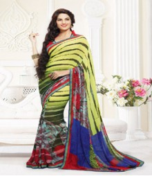 Gorgeous Yellow & Green coloured Faux Georgette Ethnic Casual Wear Saree