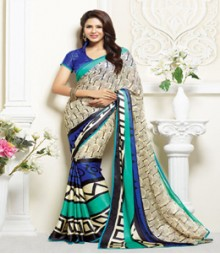 Stunning White & turquoise coloured Faux Georgette Ethnic Casual Wear Saree