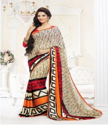 Captivating Beige coloured Faux Georgette Ethnic Casual Wear Saree