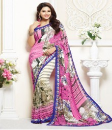 Charming Pink & White coloured Faux Georgette Ethnic Casual Wear Saree