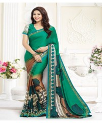 Beautiful Green coloured Faux Georgette Ethnic Casual Wear Saree