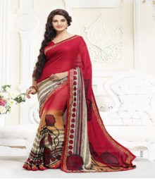 Simplistic Red coloured Georgette Ethnic Casual Wear Saree