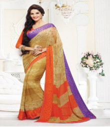 Stupendous Beige & Orange coloured Faux Georgette Ethnic Casual Wear Saree
