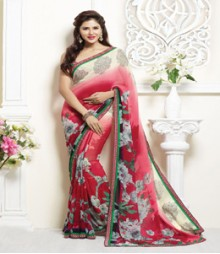 Simplistic White & Red coloured Faux Georgette Ethnic Casual Wear Saree