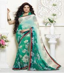 Dainty White & Turquoise coloured Faux Georgette Ethnic Casual Wear Saree