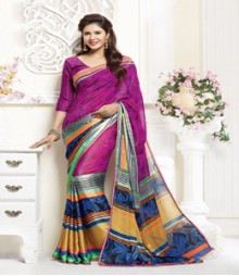 Astounding Magenta coloured Faux Georgette Ethnic Casual Wear Saree