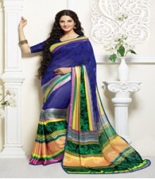 Attractive Blue coloured Faux Georgette Ethnic Casual Wear Saree