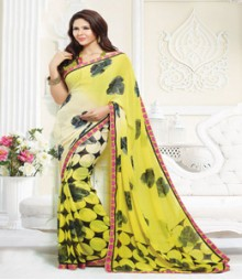 Brilliant Yellow coloured Faux Georgette Ethnic Casual Wear Saree