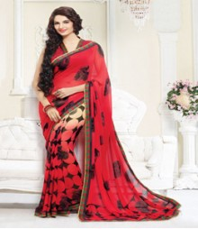 Simplistic Red coloured Faux Georgette Ethnic Casual Wear Saree