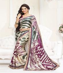 Brilliant Cream coloured Faux Georgette Ethnic Casual Wear Saree