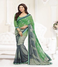 Dainty Grey & Green coloured Faux Georgette Ethnic Casual Wear Saree