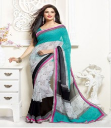 Captivating White & Turquoise coloured Faux Georgette Ethnic Casual Wear Saree