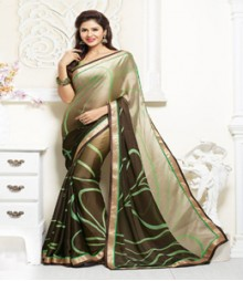 Charming Green & Golden coloured Satin Chiffon Ethnic Casual Wear Saree