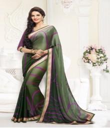 Graceful Green coloured Satin Chiffon Ethnic Casual Wear Saree