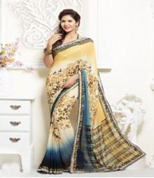 Beautiful Cream coloured Faux Georgette Ethnic Casual Wear Saree