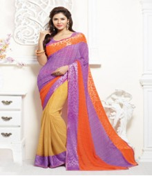Enticing Purple & Yellow coloured Faux Georgette Ethnic Casual Wear Saree
