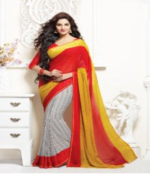 Enthralling Red & White coloured Faux Georgette Ethnic Casual Wear Saree