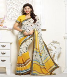 Graceful Cream & Yellow coloured Faux Georgette Ethnic Casual Wear Saree