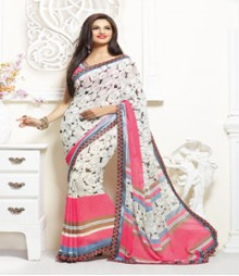 Pleasing White & Peach coloured Faux Georgette Ethnic Casual Wear Saree