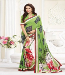 Ravishing Green coloured Faux Georgette Ethnic Casual Wear Saree