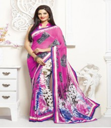 Charming Pink coloured Faux Georgette Ethnic Casual Wear Saree