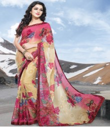 Saara Beige & Pink coloured 60 gm.georgette Saree
