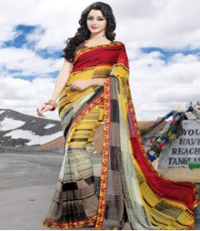 Saara Yellow & Red coloured 60 gm.georgette Saree