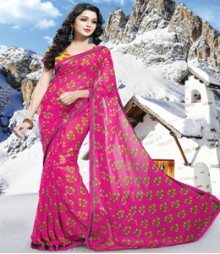Saara Pink coloured 60 gm chiffon Saree