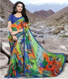 Saara Green & Blue coloured Georgette Saree
