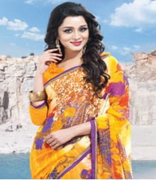 Saara Yellow coloured Chiffon Saree