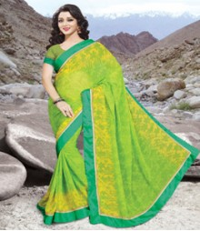 Saara Green coloured 60 gm chiffon Saree