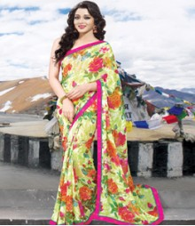 Saara Green coloured 60 Gram chiffon Saree