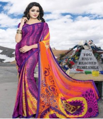 Saara Purple coloured 60 gm plain georgette Saree