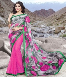 Saara Grey & Pink coloured 60 gm. georgette Saree