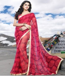 Saara Red coloured 60 gm chiffon Saree