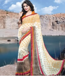 Saara Cream Coloured 60 Gram georgette Saree