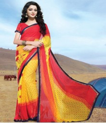 Saara Red & Yellow coloured 60 gm chiffon Saree