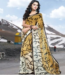 Saara White & Brown coloured 60 Gram Georgette Saree