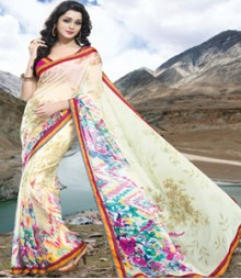 Saara White coloured 60 Gram georgette Saree