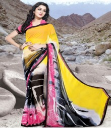 Saara Yellow & Black coloured 60 gm chiffon Saree