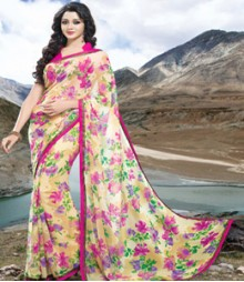 Saara Cream coloured 60 gm.georgette Saree