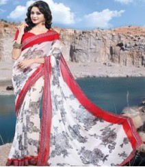 Saara Red & White coloured 60 gm. georgette Saree