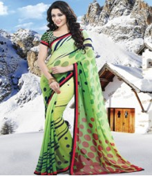 Saara Green coloured weight less georgette Saree