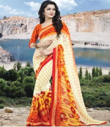 Saara Cream & Orange coloured 60 gm. georgette Saree