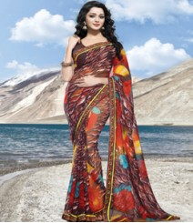 Saara Brown coloured 60 gm.georgette Saree
