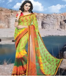 Saara Green & Yellow coloured 60 gm chiffon Saree