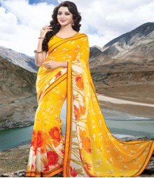 Saara Yellow coloured 60 Gram Georgette Saree