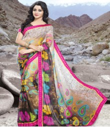 Saara White & Brown coloured 60 gm. georgette Saree