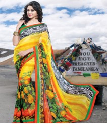Saara Yellow coloured 60 gm. georgette Saree